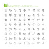 Line icons. Flower shop and gardening Stock Photo