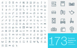 173 line icons Stock Illustration