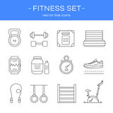 Line icons gym and fitness. Stock Photo