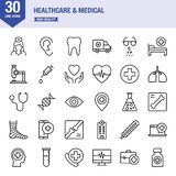 Line icons for healthcare and medical. Design elements for mobile and web applications vector illustration