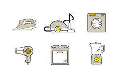 Line icons of home appliances, household cooking cleaning devices Royalty Free Stock Photos