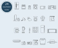 Line icons of home appliances. 24 units Royalty Free Stock Photo
