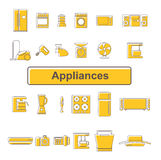 Line icons of home appliances. 24 units Stock Photo