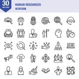 Line icons for human resources. Design elements for mobile and web applications stock illustration