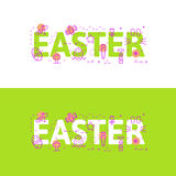 Line icons  illustration concept of words easter and elements Royalty Free Stock Image
