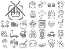 Line icons for japanese seafood menu Stock Photo