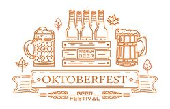 Line icons and lettering for Oktoberfest. Oktoberfest design. Line icons and lettering for Oktoberfest. Beer festival. Vector illustration Royalty Free Stock Photo
