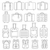 Line icons luggage. Set of linear icons luggage. Suitcases and backpacks. Vector illustration Stock Image