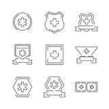 Line Icons Medical Ambulance label set icons Stock Photo