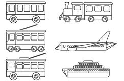 Line icons of public transport. Set line icons different types of public transport - bus, tram, trolleybus, train, ship and airplane. Vector illustration Royalty Free Stock Photo