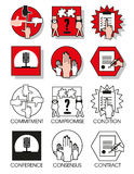 Line icons set of the agreements and meetings. Line icons set with flat design elements of business people of the agreements and meetings. Modern vector Stock Images