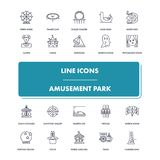 Line icons set. Amusement Park. Pack. Vector illustration for leisure and recreation. Fun and happiness Royalty Free Stock Image