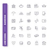 Line icons set. Banking. Pack. Vector illustration for save and transfer money Royalty Free Stock Photos