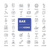 Line icons set. Bar. Pack. Vector illustration Royalty Free Stock Photo