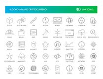 Line icons set. Blockchain and Cryptocurrency pack. Vector illustration royalty free illustration