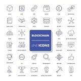 Line icons set. Blockchain Stock Photos