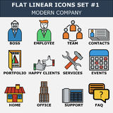 Line icons set of business company services, office team. Modern color flat design linear pictogram collection. Royalty Free Stock Images