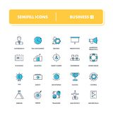 Line icons set. Business 1. Pack. Vector illustration for  realisation ideas, start up, making money and teamwork Stock Image