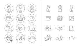 Line icons set. Business theme. Line icons set with flat design elements of success business metaphor, marketing vision, customer support, idea solution Stock Images