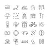 Line icons set of camping, hiking and tourism Stock Images