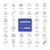 Line icons set. Camping. Pack. Vector illustration Stock Image
