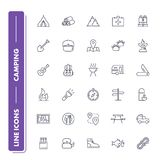 Line icons set. Camping. Pack. Vector illustration Royalty Free Stock Photos