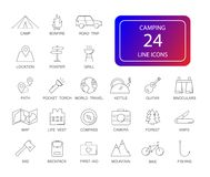 Line icons set. Camping pack. Vector illustration Royalty Free Stock Photos