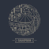 Line icons set of camping. Royalty Free Stock Photography