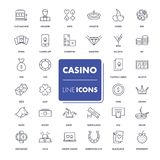 Line icons set. Casino Stock Images