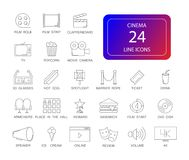 Line icons set. Cinema pack. Vector illustration Royalty Free Stock Photo