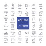 Line icons set. College. Pack. Vector illustration Royalty Free Stock Photography