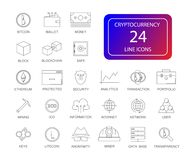 Line icons set. Cryptocurrency pack. Vector illustration Royalty Free Stock Photo