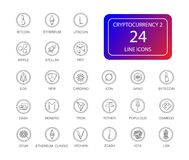 Line icons set. Cryptocurrency pack. Vector illustration Stock Photos