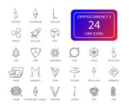Line icons set. Cryptocurrency pack. Vector illustration Stock Photo