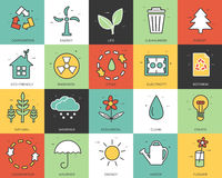 Line icons set of eco collection concept. Modern vector pictogram with flat design elements design. Line icons set of eco collection concept. Modern vector Royalty Free Stock Photo