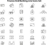 Line Icons Set. Finance And Banking Line Icons Set Royalty Free Stock Photos