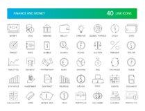 Line icons set. Finance and Money pack. Vector illustration Stock Image