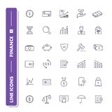 Line icons set. Finance. Pack 1. Vector illustration with money for banking, investment  and transactions Royalty Free Stock Photography