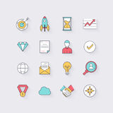 Line icons set in flat design. Elements of business, startup, ti Stock Photo