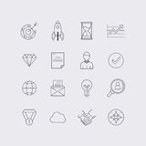 Line icons set in flat design. Elements of business, startup, ti Royalty Free Stock Photography