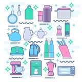 Line icons set with flat design elements of kitchen appliances Stock Photography