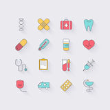 Line icons set in flat design. Elements of medicine, health, hos Stock Photography