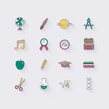 Line icons set in flat design. Elements of School and Education. Stock Photos