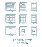Line icons set flat design responsive web development service, website webpage user interface on different devices Stock Image