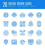 Line icons set. Flat thin linear stroke vector Social Media Royalty Free Stock Photo
