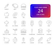 Line icons set. Food and Drink pack. Vector illustration Royalty Free Stock Photography