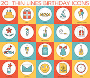 Line icons set of  happy birthday collection concept. Modern vector pictogram with flat design elements design. Line icons set of  happy birthday collection Royalty Free Stock Photos