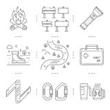 Line icons set of hiking, camping and tourism Royalty Free Stock Images