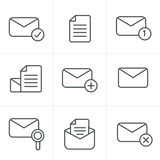 Line Icons Set of icons for messages. Royalty Free Stock Photo