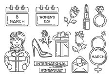 Line icons set for International Women`s Day. 8th March. Womens Day symbols collection. Vector illustration Royalty Free Stock Photography